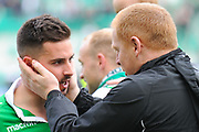 Jamie McLaren and Neil Lennon after the Ladbrokes Scottish Premiership match between Hibernian and Rangers at Easter Road, Edinburgh, Scotland on 13 May 2018. Picture by Kevin Murray.