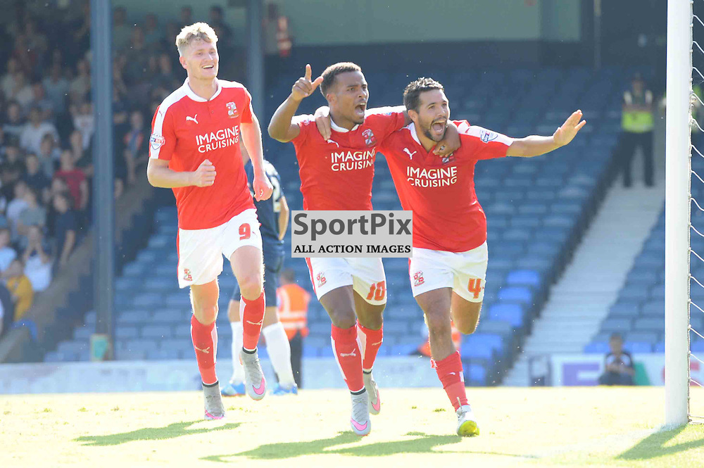 Swindons Fabien Robert celebrates giving his side the lead with Nathan Bryne in their Sky Bet League 1 clash with Southend