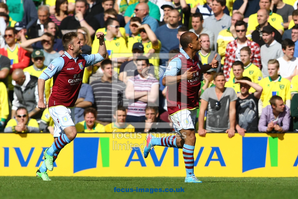 Picture by Paul Chesterton/Focus Images Ltd +44 7904 640267.04/05/2013.Gabriel Agbonlahor of Aston Villa scores his sides 1st goal and celebrates during the Barclays Premier League match at Carrow Road, Norwich.