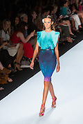 Cap-sleeve dress in sea green, aqua and purple. By Monique Lhuillier at Spring 2013 Fall Fashion Week in New York.