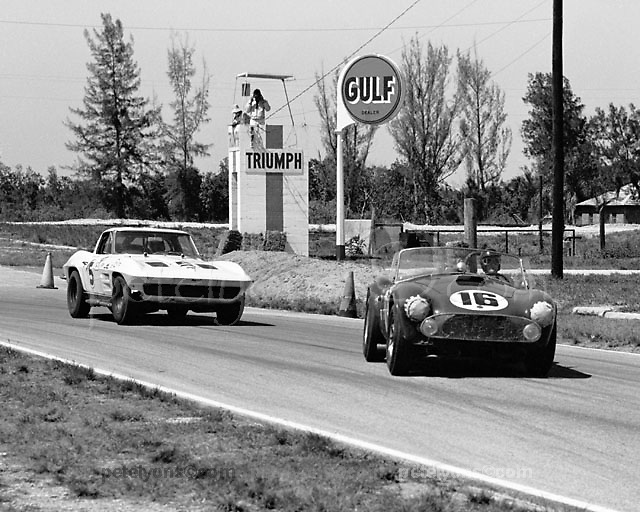 Cobra in company with Corvette at 1963 Sebring 12-hour event, photo by Ozzie Lyons / www.petelyons.com