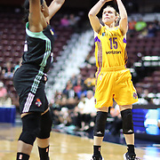 UNCASVILLE, CONNECTICUT- May 2:  Jamie Weisner #15 of the Los Angeles Sparks shoots during the Los Angeles Sparks Vs New York Liberty, WNBA pre season game at Mohegan Sun Arena on May 2, 2017 in Uncasville, Connecticut. (Photo by Tim Clayton/Corbis via Getty Images)