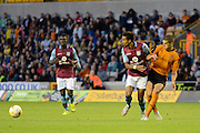 Scott Sinclair is tackled by Conor Coady during the Pre-Season Friendly match between Wolverhampton Wanderers and Aston Villa at Molineux, Wolverhampton, England on 28 July 2015. Photo by Alan Franklin.
