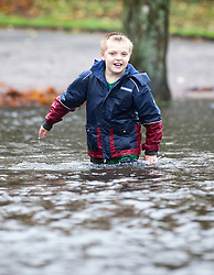 © Licensed to London News Pictures. 15/11/2015. Windermere UK. A little boy wades through a waterlogged park in Windermere after heavy rain caused wide spread flooding in the area. More rain is expected in Cumbria this afternoon. Photo credit: Andrew McCaren/LNP