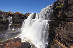 Water cascades over King George Falls in Western Australia's east Kimberley.