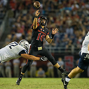 03 September 2016: The San Diego State Aztecs football team open's up the season at home against the University of New Hampshire Wildcats. San Diego State quarterback Christian Chapman (10) passes the ball for a completion in the fourth quarter. The Aztecs beat the Wildcats 31-0. www.sdsuaztecphotos.com