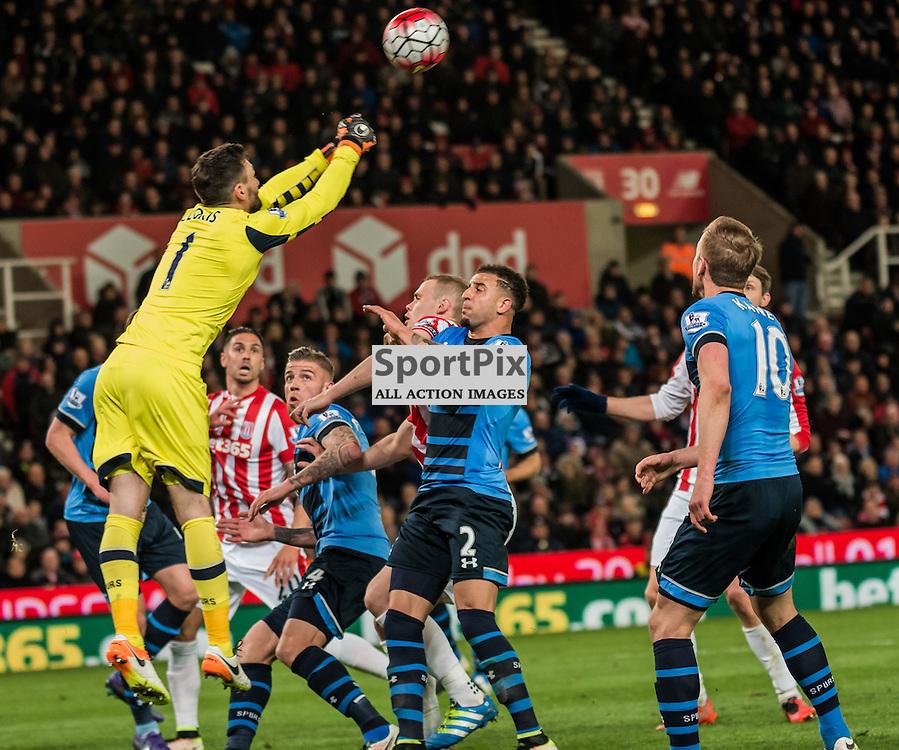 Tottenham Hotspur goalkeeper Hugo Lloris (1) punches the ball clear in the Premier League match between Stoke City and Tottenham Hotspur <br /> <br /> (c) John Baguley | SportPix.org.uk