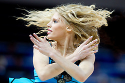 Cheerleaders Klaipeda University Dance Team (Zalgdance) during basketball match between National teams of Slovenia and Bulgaria in Group D of Preliminary Round of Eurobasket Lithuania 2011, on August 31, 2011, in Arena Svyturio, Klaipeda, Lithuania.   Slovenia defeated Bulgaria 67 - 59. (Photo by Vid Ponikvar / Sportida)