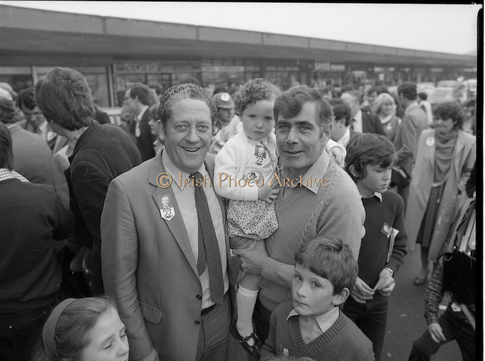 15/05/1982<br /> 05/15/1982<br /> 15 May 1982<br /> An Taoiseach, Mr Charles Haughey, canvasing with Fianna Fail bye-election candidate Eileen Lemass in Dublin West. Brian Lenihan T.D. out in support of his party colleagues in West Dublin.