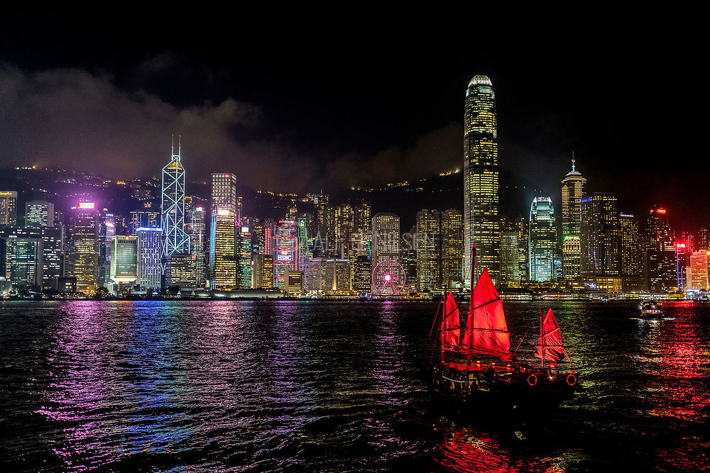 Hong Kong skyling at night.