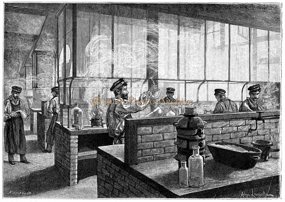 First year students at L'Ecole Centrale des Arts et Manufactures, Paris, doing practical work in the laboratory. Wood engraving, Paris, 1887.