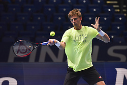 November 15, 2018 - London, England, United Kingdom - Kevin Anderson of South Africa is seen in action in his training session during Day Five of the Nitto ATP Finals at The O2 Arena on November 15, 2018 in London, England. (Credit Image: © Alberto Pezzali/NurPhoto via ZUMA Press)