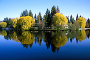 Houses on the Deschutes River from Drake Park, Bend, Oregon