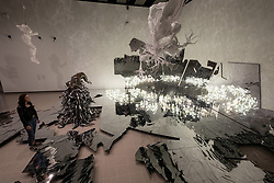 © Licensed to London News Pictures. 29/05/2018. London, UK. A gallery associate views installations titled Monster: Black (2011) and Civitas Solis II (2014) by South Korea artist LEE BUL. The exhibition spans the artists career and is showing at the Haywood Gallery. Photo credit: Ray Tang/LNP