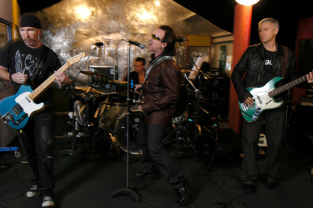 Ireland. Dublin. U2 rehearsing in their studios in Dublin. Left to right: The Edge, Larry Mullen, Bono and Adam Clayton.