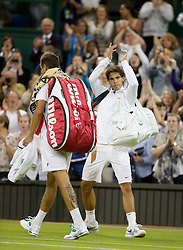 LONDON, ENGLAND - Thursday, June 28, 2012: Rafael Nadal (ESP) applauds the crowd as he leaves centre court after being beaten by Lukas Rosol (CZE) during the Gentlemen's Singles 2nd Round  match on day four of the Wimbledon Lawn Tennis Championships at the All England Lawn Tennis and Croquet Club. (Pic by David Rawcliffe/Propaganda)