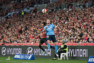 October 08, 2016: Sydney FC defender Rhyan GRANT (23) heads the ball at Round 1 of the 2016 Hyundai A-League match, between Western Sydney Wanderers and Sydney FC, played at ANZ Stadium in Sydney. Sydney FC won the game 4-0.