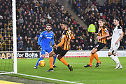 Hull City defender Michael Hector (5) goes the wrong side of the post during the EFL Sky Bet Championship match between Hull City and Derby County at the KCOM Stadium, Kingston upon Hull, England on 26 December 2017. Photo by Ian Lyall.
