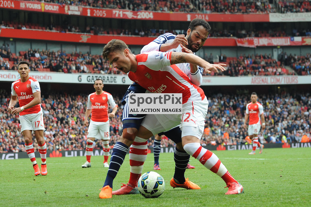 Arsenals Oliver Giroud and West Broms Joleon Lescott in action during the Arsenal v West Brom match on Sunday 24th May 2015