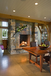 912 White Post stone fireplace