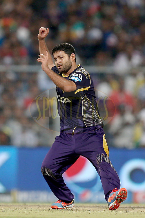 Piyush Chawla celebrates the wicket of David Miller during the first qualifier match (QF1) of the Pepsi Indian Premier League Season VII 2014 between the Kings XI Punjab and the Kolkata Knight Riders held at Eden Gardens Cricket Stadium, Kolkata, India on the 28th May 2014. Photo by Jacques Rossouw / IPL / SPORTZPICS<br /> <br /> <br /> <br /> Image use subject to terms and conditions which can be found here:  http://sportzpics.photoshelter.com/gallery/Pepsi-IPL-Image-terms-and-conditions/G00004VW1IVJ.gB0/C0000TScjhBM6ikg