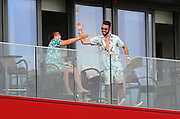 Australia fans on the hotel balcony in good spirits during the International Test Match 2019, fourth test, day two match between England and Australia at Old Trafford, Manchester, England on 5 September 2019.