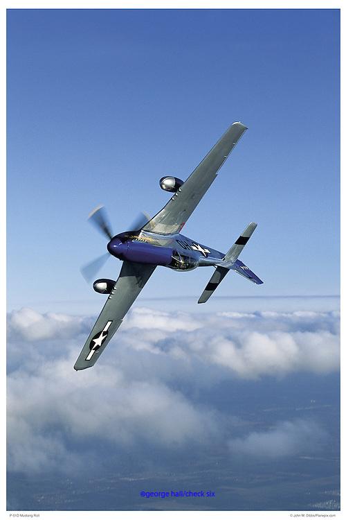 P-51 in acrobatic flight, aerial