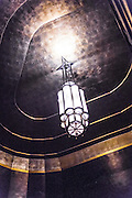 An Art Deco chandelier in a stairwell adjoining the Chrysler Building's main lobby.