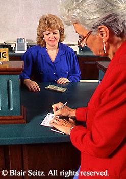Active Aging Senior Citizens, Retired, Activities, Elderly Banking, Local Bank