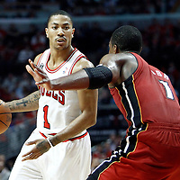 18 May 2011: Chicago Bulls point guard Derrick Rose (1) dribbles during the Miami Heat 85-75 victory over the Chicago Bulls, during game 2 of the Eastern Conference finals at the United Center, Chicago, Illinois, USA.
