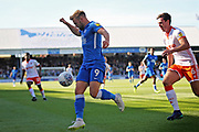 Peterborough United forward Matt Godden (9) controls the ball in the box during the EFL Sky Bet League 1 match between Peterborough United and Blackpool at The Abax Stadium, Peterborough, England on 29 September 2018.