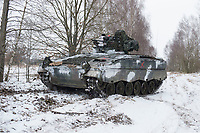 23 FEB 2013, LETZLINGEN/GERMANY:<br /> Schuetzenpanzer, SPz, Marder 1A3, des Panzergrenadierbattailons 212 der Bundeswehr mit Wintertarnung waehrend einer Gefechtsuebung im Winter, Gefechtsuebungszentrum Heer, Truppenuebungsplatz Altmark<br /> IMAGE: 20130223-01-018<br /> KEYWORDS: Gefechtsübung, Schnee, Schützenpanzer, Gefechtsübungszentrum, Heer, Armee, Streikräfte, Militaer, Miltär, Streitkraefte, Panzer, Streitkräfte