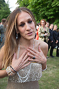 Sarah Jessica Parker, The Serpentine Summer Party 2013 hosted by Julia Peyton-Jones and L'Wren Scott.  Pavion designed by Japanese architect Sou Fujimoto. Serpentine Gallery. 26 June 2013. ,