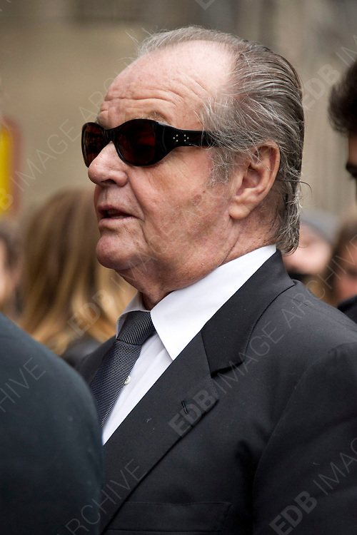 01.MARCH.2013. PARIS<br /> <br /> JACK NICHOLSON ATTENDS THE FUNERAL OF CLOSE FRIEND ITALIAN PHOTOGRAPHER WILLY RIZZO AT ST PIERRE DE CHAILLOT CHURCH IN PARIS, FRANCE.<br /> <br /> BYLINE: EDBIMAGEARCHIVE.CO.UK<br /> <br /> *THIS IMAGE IS STRICTLY FOR UK NEWSPAPERS AND MAGAZINES ONLY*<br /> *FOR WORLD WIDE SALES AND WEB USE PLEASE CONTACT EDBIMAGEARCHIVE - 0208 954 5968*