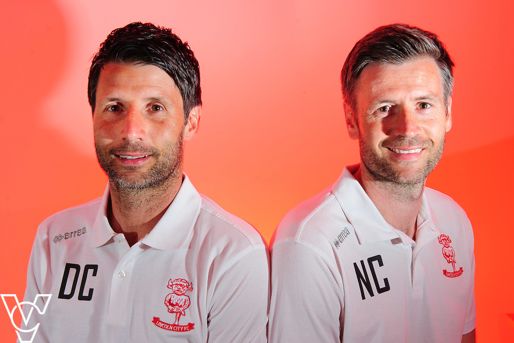 Pictured is Lincoln City manager Danny Cowley, left, and assistant manager Nicky Cowley<br /> <br /> Lincoln City have appointed Danny Cowley as the club's new first team manager.  His brother, Nicky, is the Red Imps' new assistant manager.<br /> <br /> Picture: Chris Vaughan/Chris Vaughan Photography<br /> Date: May 13, 2016