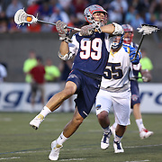 Paul Rabil #99 of the Boston Cannons takes a shot during the game at Harvard Stadium on May 17, 2014 in Boston, Massachuttes. (Photo by Elan Kawesch)