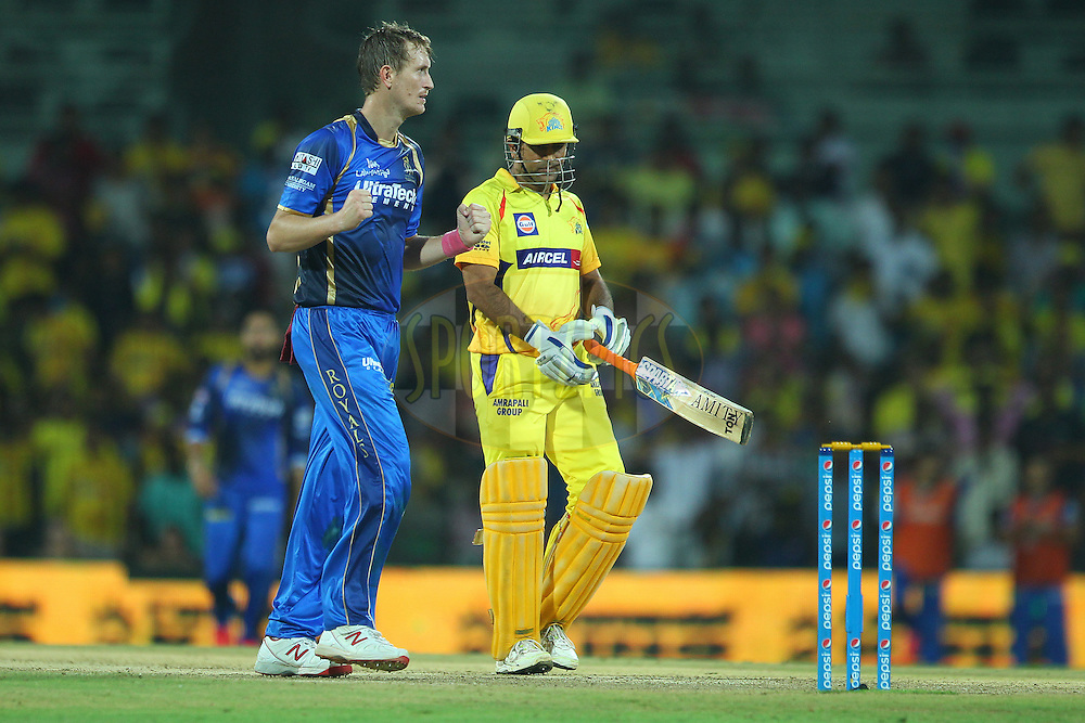 Christopher Morris of the Rajasthan Royals celebrates the wicket of Pawan Negi of the Chennai Superkings  during match 47 of the Pepsi IPL 2015 (Indian Premier League) between The Chennai Superkings and The Rajasthan Royals held at the M. A. Chidambaram Stadium, Chennai Stadium in Chennai, India on the 10th May 2015.<br /> <br /> Photo by:  Ron Gaunt / SPORTZPICS / IPL