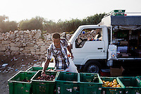 Hal Far, Malta - 20 August, 2012: A Sub-Saharan migrant buys some onions by a Maltese pitchman who sells goods with his truck in front of the Hal Far Tent Village open centre in Hal Far, Malta,  on 20 August, 2012. <br /> <br /> <br /> <br /> Gianni Cipriano for The New York Times