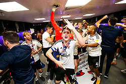 Free to use courtesy of Sky Bet. Tom Cairney celebrates as Fulham celebrate in the dressing room after winning the game 0-1 to win the Sky Bet Championship Play-Off Final and secure Promotion to the Premier League - Rogan/JMP - 26/05/2018 - FOOTBALL - Wembley Stadium - London, England - Aston Villa v Fulham - Sky Bet Championship Play-Off Final.
