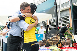 Borut Pahor and Primoz Roglic of Team Lotto NL Jumbo, winner  in Overall classification celebrates during the trophy ceremony after the 5th Time Trial Stage of 25th Tour de Slovenie 2018 cycling race between Trebnje and Novo mesto (25,5 km), on June 17, 2018 in  Slovenia. Photo by Vid Ponikvar / Sportida