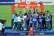 Bengaluru FC players celebrate win during the final of the Hero Super Cup between East Bengal FC and Bengaluru FC held at the Kalinga Stadium, Bhubaneswar, India on the 20th April 2018<br /> <br /> Photo by: Arjun Singh / SPORTZPICS
