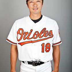 Feb 22, 2013; Sarasota, FL, USA; Baltimore Orioles starting pitcher Tsuyoshi Wada (18) at the Orioles clubhouse. Mandatory Credit: Derick E. Hingle-USA TODAY Sports