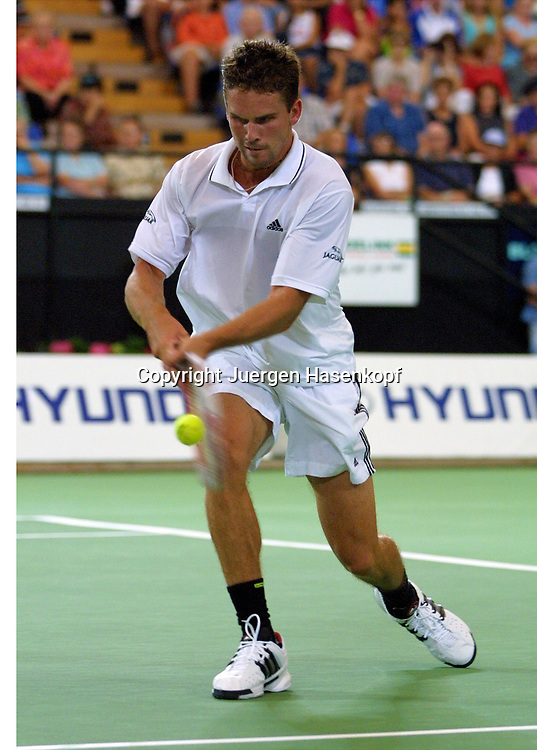 Sport,Tennis,Hopman Cup in Perth,Australien,Mixed<br /> Doubles WM, Jan Michael Gambill (USA) in Aktion,action , 04.01.2002<br /> Foto:Juergen Hasenkopf