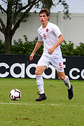 Canada defender Loic Cloutier (5) brings the ball up the pitch in a game against Slovenia during a CONCACAF boys under-15 championship soccer game, Saturday, August 10, 2019, in Bradenton, Fla. Slovenia defeated Canada in 2-1 in overtime and advanced to the finals against Portugal. (Kim Hukari/Image of Sport)