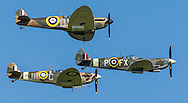 Spitfires and other World War II aircraft take off from Goodwood airfield near Chichester as the country marked the 75th anniversary of the Battle of Britain. <br />