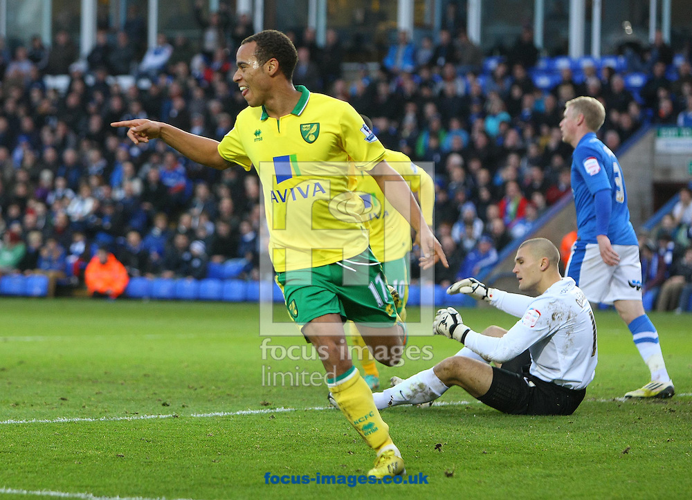 Picture by Paul Chesterton/Focus Images Ltd +44 7904 640267.05/01/2013.Elliott Bennett of Norwich scores his sides 1st goal and celebrates during the The FA Cup match at London Road, Peterborough.