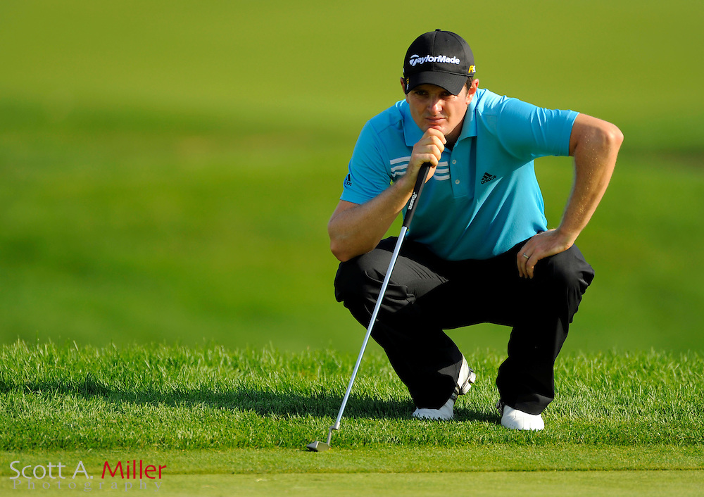 Aug 13, 2009; Chaska, MN, USA; Justin Rose (GBR) lines up a shot on the 11th green during the first round of the 2009 PGA Championship at Hazeltine National Golf Club.  ©2009 Scott A. Miller