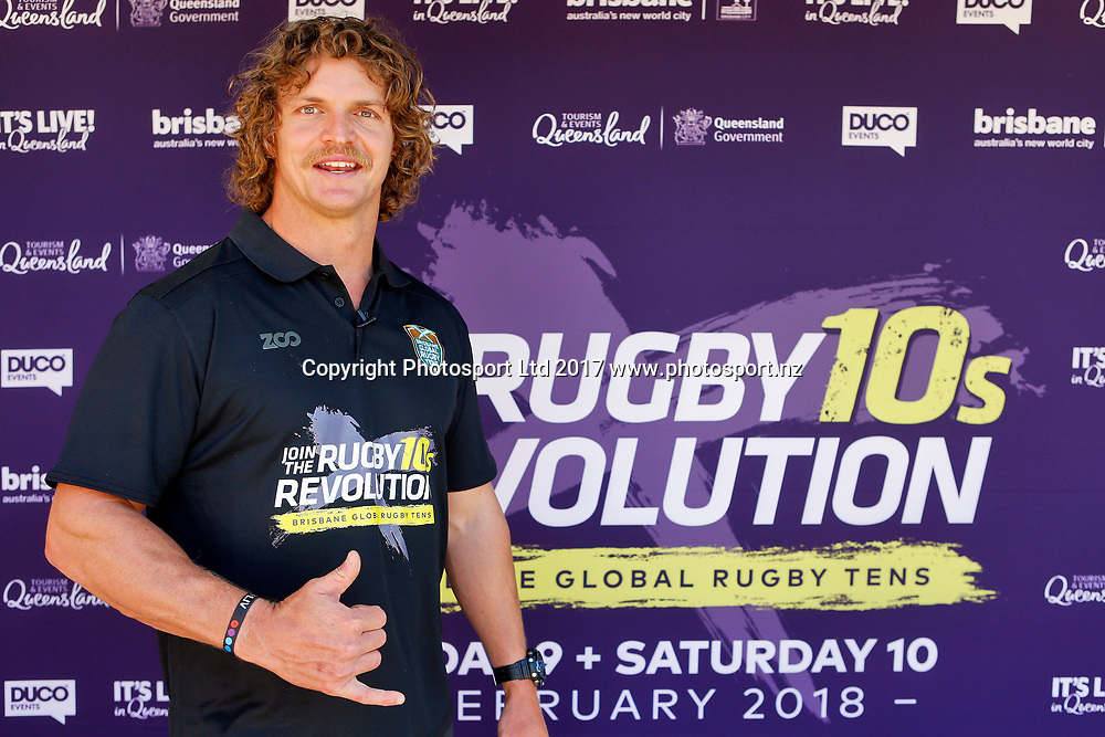 Nick Cummins 'The Honey Badger' during a promotional visit for the Brosbane Global Rugby 10s tournament to Butterfly Creek in Auckland, New Zealand. 19 October 2017. Copyright Image: William Booth / www.photosport.nz