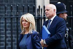 © Licensed to London News Pictures. 27/01/2015. LONDON, UK. Esther McVey and Work & Pensions Secretary Iain Duncan Smith attending to a cabinet meeting in Downing Street on Tuesday, 27 January 2015. Photo credit: Tolga Akmen/LNP