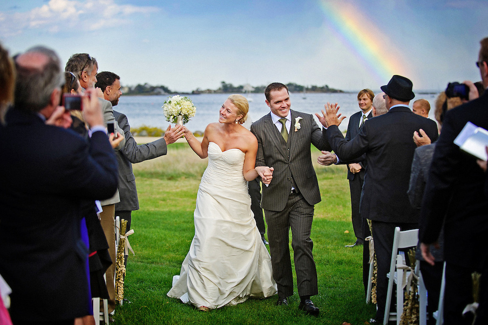 Rainbow at a coastal (seacoast) wedding at the Wentworth By the Sea Country Club.  Image by Maine Wedding Photographer Michelle Turner.